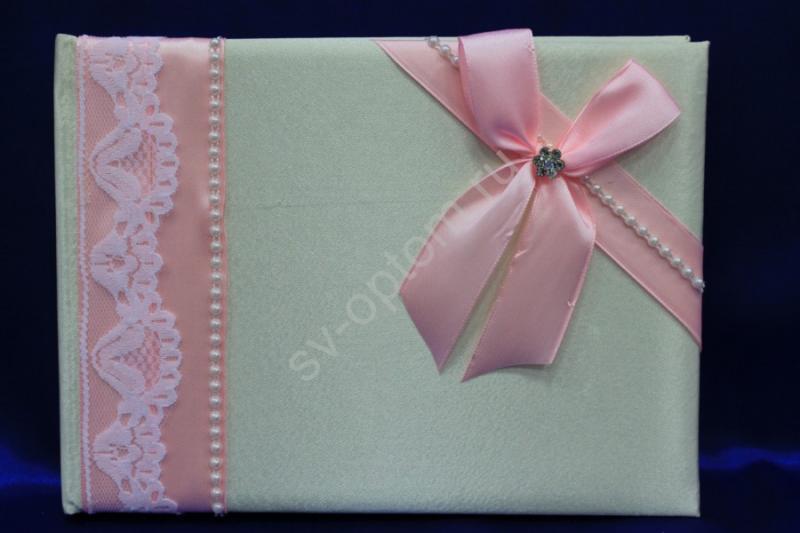 Книга пожеланий айвори с розовым бантиком (ручная работа) арт. 115-082