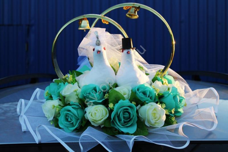Кольца голуби с тиффани и айвори розами арт.122-420
