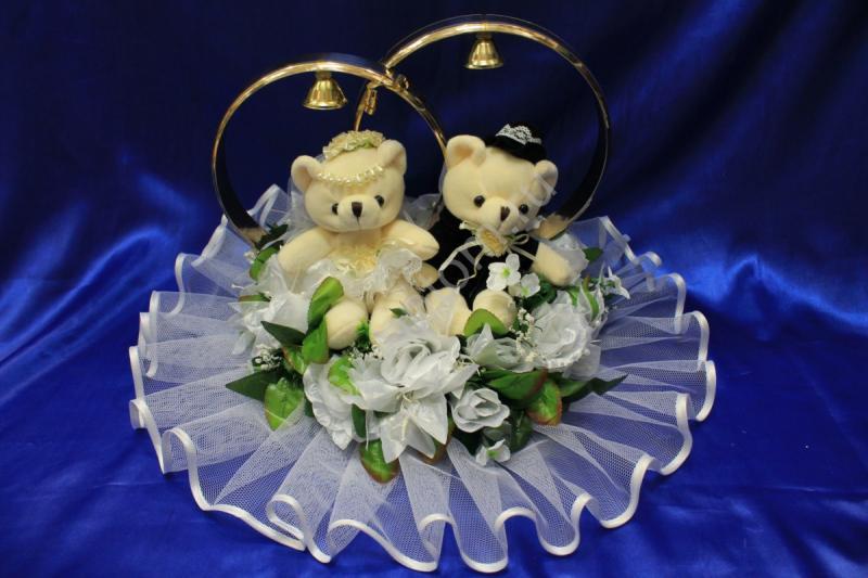 Кольца маленькие мишки с белыми лилиями и розами арт. 122-042