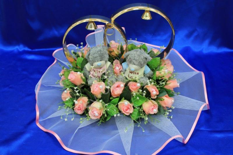 Кольца маленькие мишки с розовыми букетными розами арт. 122-497