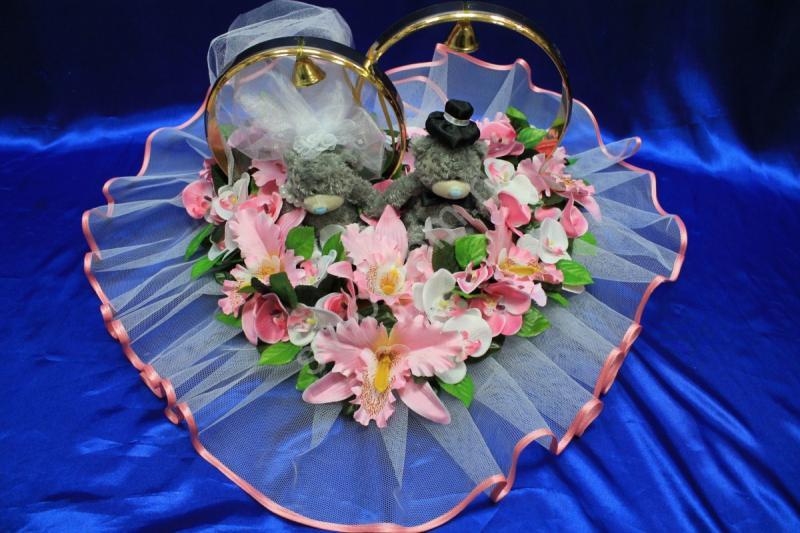 Кольца маленькие мишки с розовыми орхидеями арт. 122-502