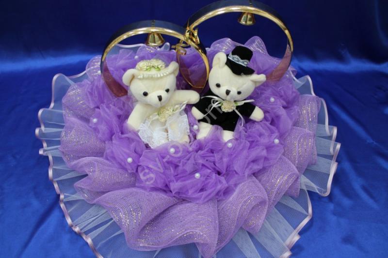 Кольца маленькие мишки с фиолетовой сеткой и органзой арт. 122-493