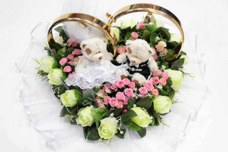 Кольца мишки маленькие с лимонными и розовыми розами арт. 122-498