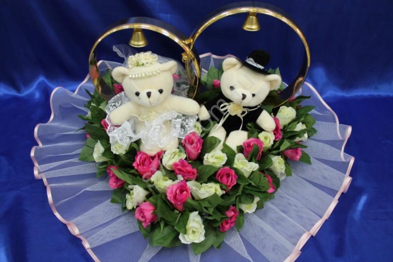 Кольца мишки маленькие с розами айвори и малиновыми арт. 122-482