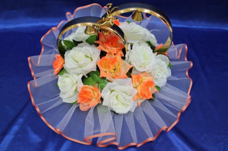 Кольца с белыми и оранжевыми розами арт. 122-194