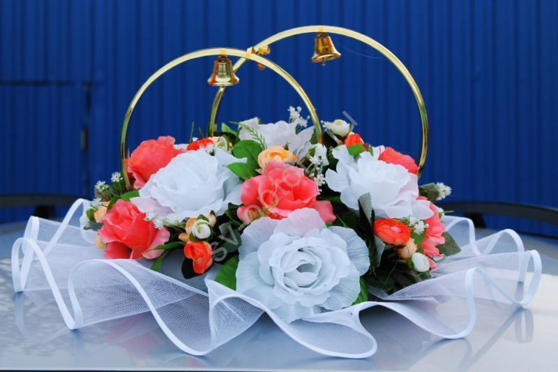 Кольца с белыми и розовыми розами арт. 122-304