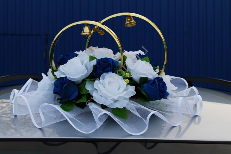 Кольца с белыми и синими розами арт. 122-299