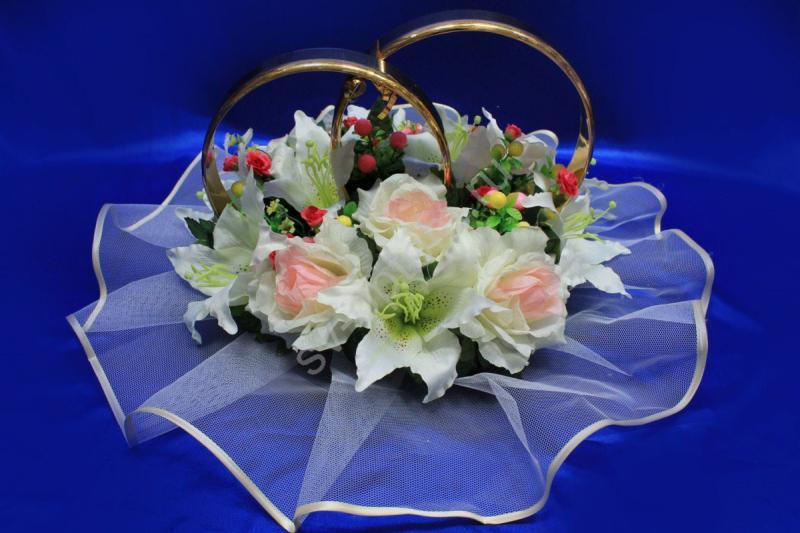Кольца с белыми лилияи и розово-айвори розами арт. 122-284