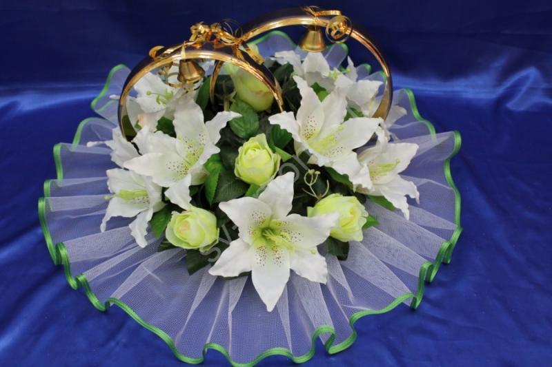 Кольца с белыми лилиями и желтыми розами арт. 122-187