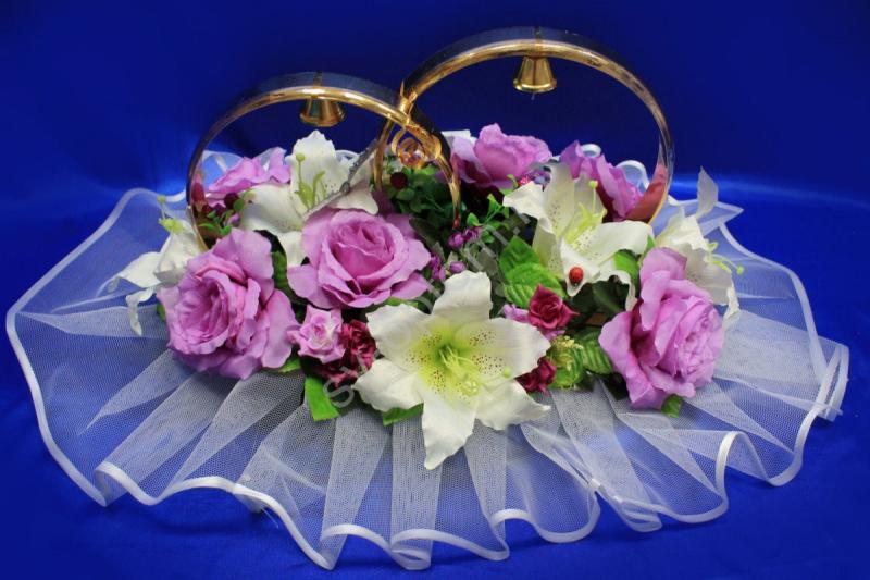 Кольца с белыми лилиями и сиреневыми розами арт.122-397