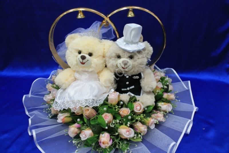 Кольца с большими мишками и розовыми розами арт. 122-499
