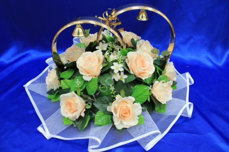 Кольца с персиковыми розами арт. 122-251