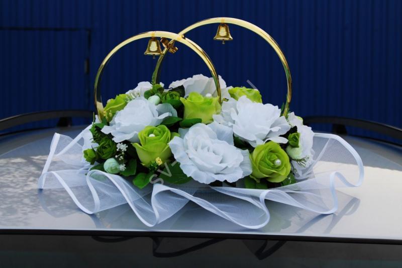 Кольца с салатовыми и белыми розами арт.122-297