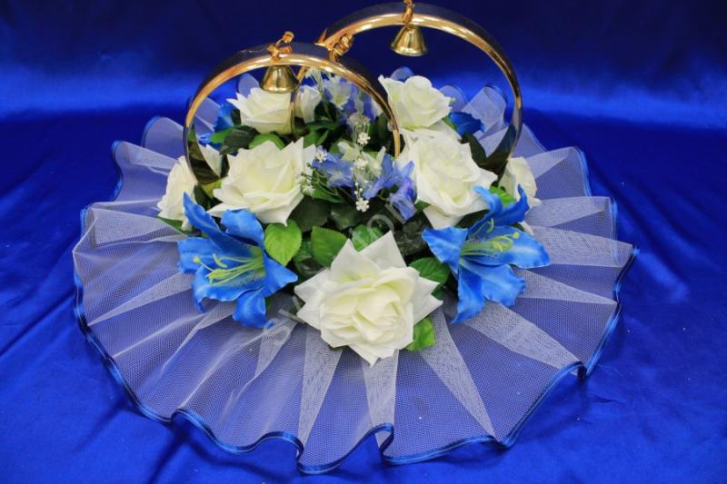 Кольца с синими лилиями и розами айвори-звездочка арт. 122-257