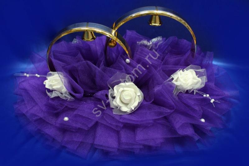 Кольца с фиолетовым фатином и белыми латексными розами арт. 122-393