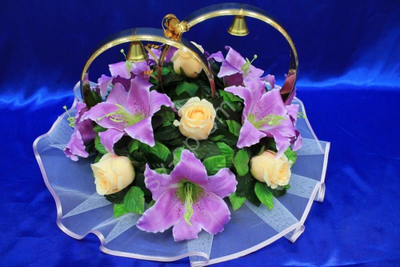 Кольца с фиолетовыми лилиями и персиковыми розами арт. 122-243