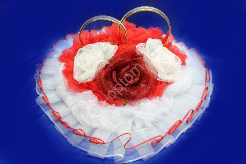 Кольца сердце с большими красными и белыми цветами арт. 122-109