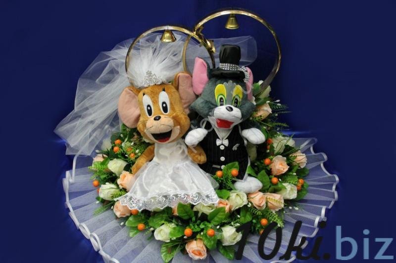 Кольца Том и джерри с персиковыми и айвори розами арт. 122-029 Украшения для свадебных машин в России