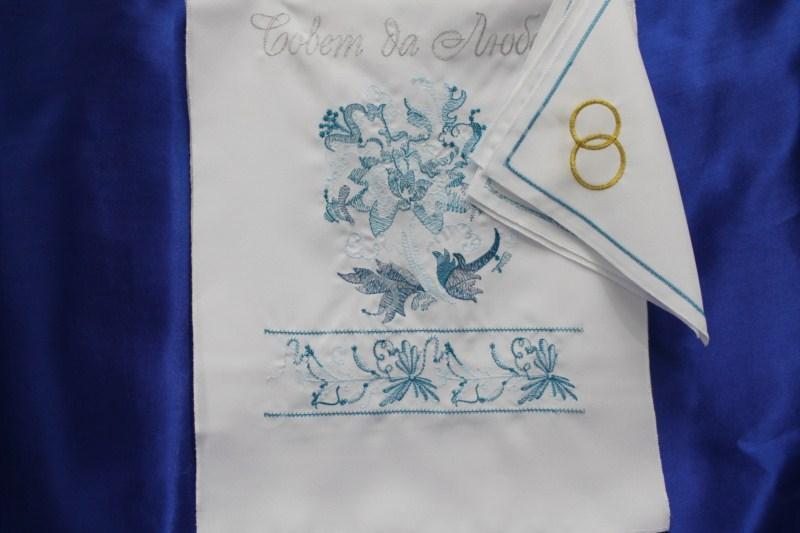 Комплект венчальный белый (рушник, 2 салфетки) арт.074-021