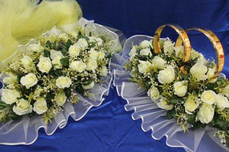 Комплект кольца и торпеда с розами айвори и желтым фатином арт.119-050