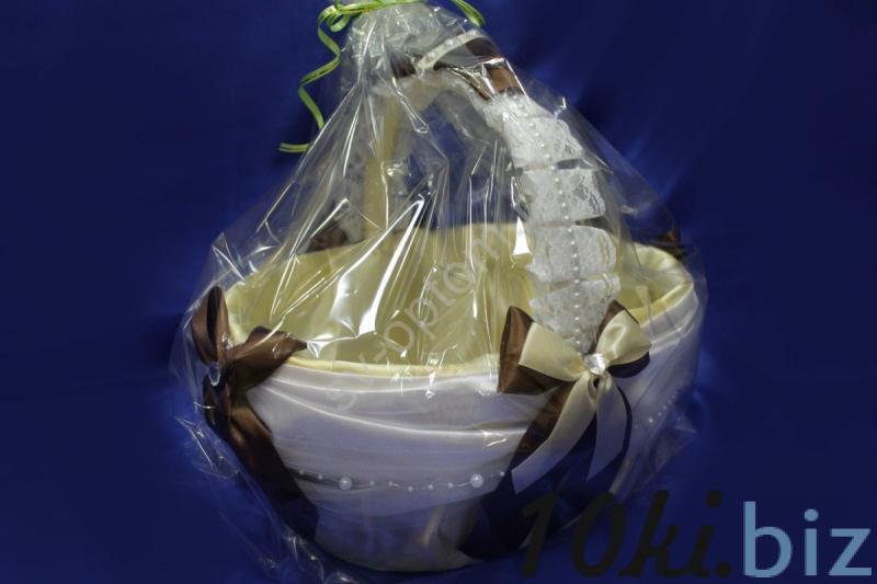 "Корзина ""Атлас коричнево-айвори-белая"" (35х35х40см) арт.086-075 Свадебные корзинки и сита в России"