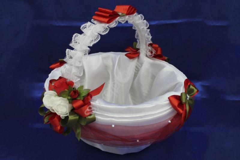 "Корзина ""Белый Атлас с красным"" (42х35x24см) арт. 086-053"