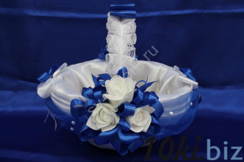 """Корзина """"Белый атлас с синим"""" (35х23x18см) арт. 086-050 Свадебные корзинки и сита в России"""