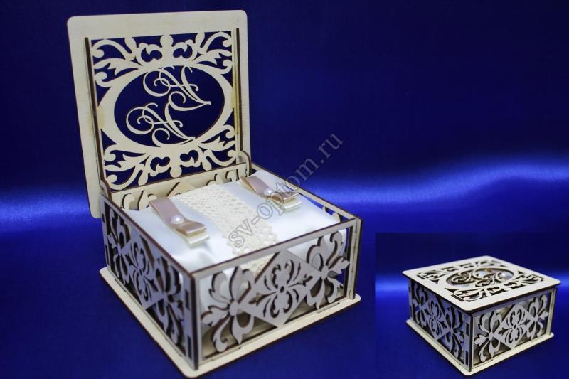 "Коробочка для колец, корпус из дерева ""Инициалы под заказ на кришку коробочки"" арт. 117-010"