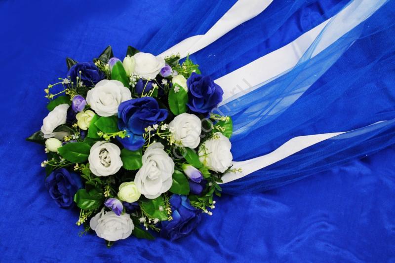 Круг с цветами на капот с синим фатином арт.120-340