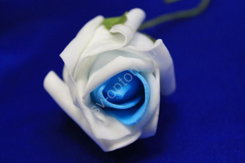 Латексный цветок Бело-синий (65-70 мм) арт. 139-036