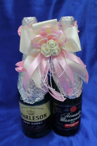 Лента для шампанского (восьмерка) бело-розовая арт. 048-060