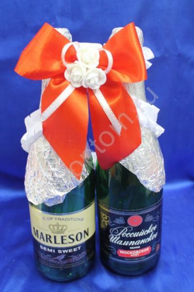 Лента для шампанского (восьмерка) красно-белая арт. 048-076