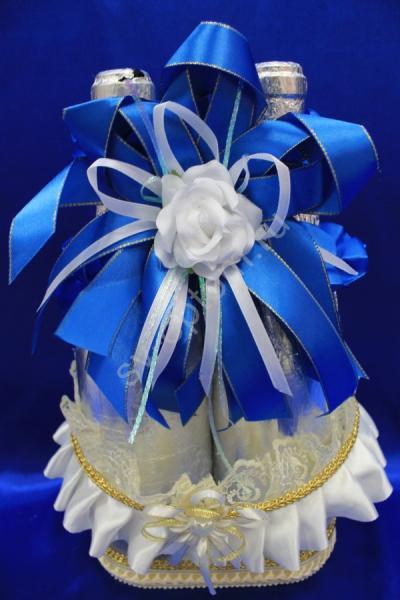 Лента для шампанского (восьмерка) с синим бантом арт.048-037