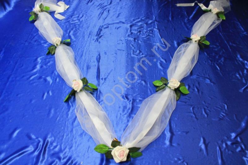 Лента на капот с бело-розовыми латексными розами арт.120-223