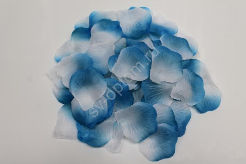 Лепестки роз бело-синие арт. 077-048