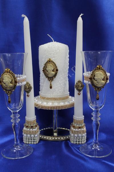 """Набор """"Империя"""" (Бокалы 2 родительских свечи и семейный очаг) арт. 053-150"""