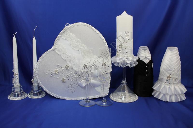 Набор (Сердце, Одежда для шампанского, Свечи, Бокалы) арт. 053-081