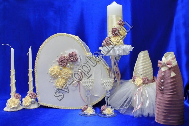 Набор (Сердце, Одежда на шампанское, Свечи, Бокалы) арт. 053-107