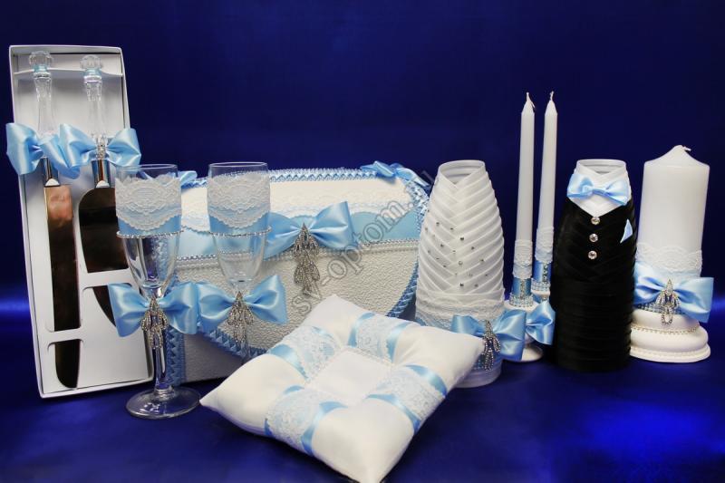 Набор (Сундучок, Лопатка нож, Одежда на шампанское, Свечи, Бокалы, Подушечка) арт.053-075