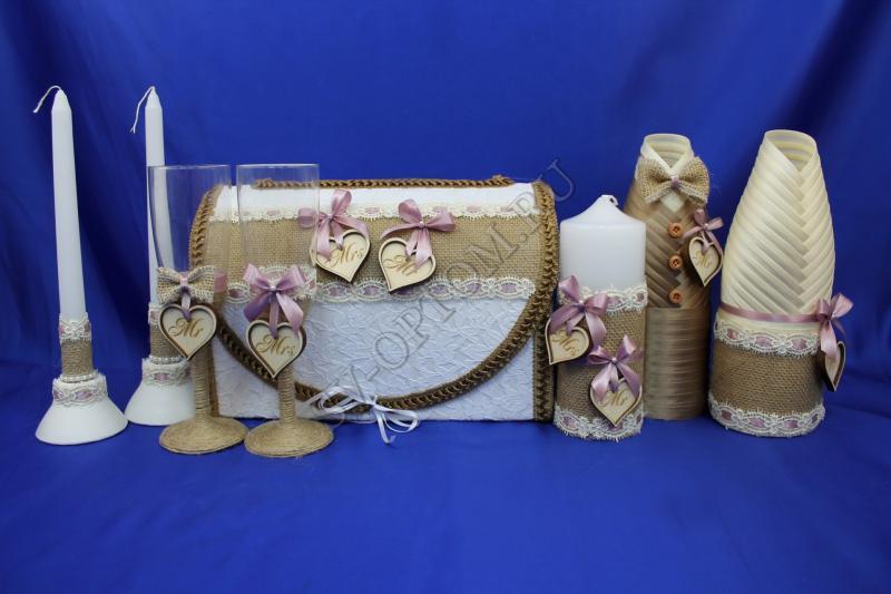 Набор (Сундучок, Одежда для шампанского, Свечи, Бокалы) арт. 053-080