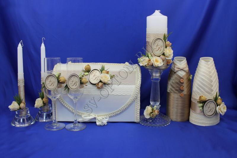 Набор (Сундучок, Одежда для шампанского, Свечи, Бокалы) арт. 053-082