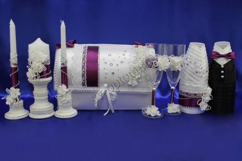 Набор (Сундучок, Одежда на шампанское, Свечи, Бокалы, ) арт. 053-004