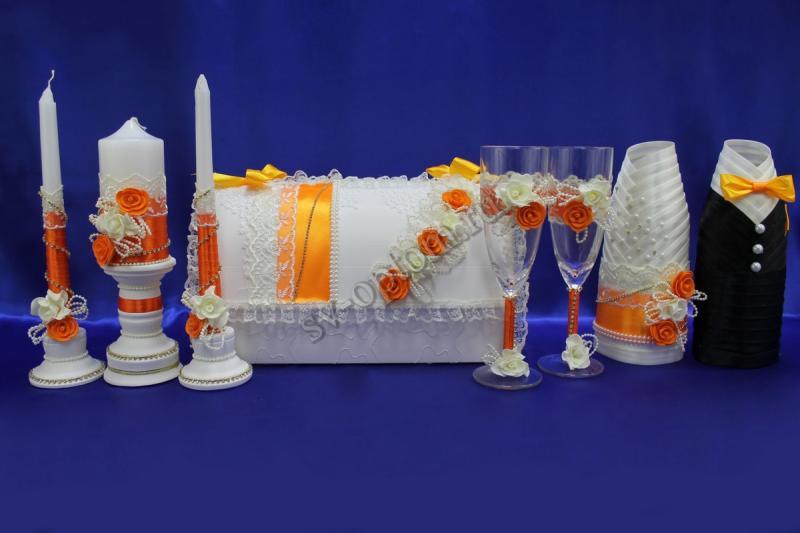 Набор (Сундучок, Одежда на шампанское, Свечи, Бокалы, ) арт. 053-005