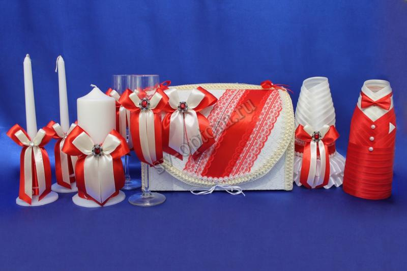 Набор (Сундучок, Одежда на шампанское, Свечи, Бокалы, ) арт. 053-007