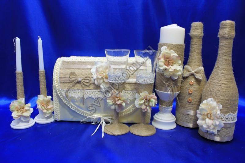 Набор (Сундучок, Одежда на шампанское, Свечи, Бокалы) арт. 053-095
