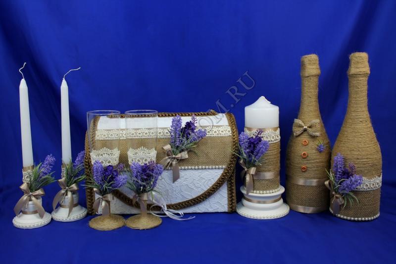 Набор (Сундучок, шампанское украшенное, Свечи, Бокалы) арт. 053-083