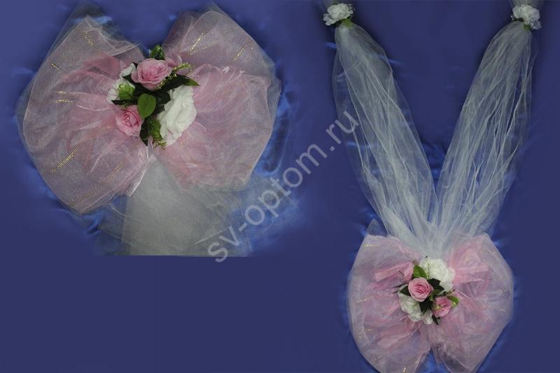 Набор бант на капот и бант на задний бампер с розовой сеткой арт.119-076