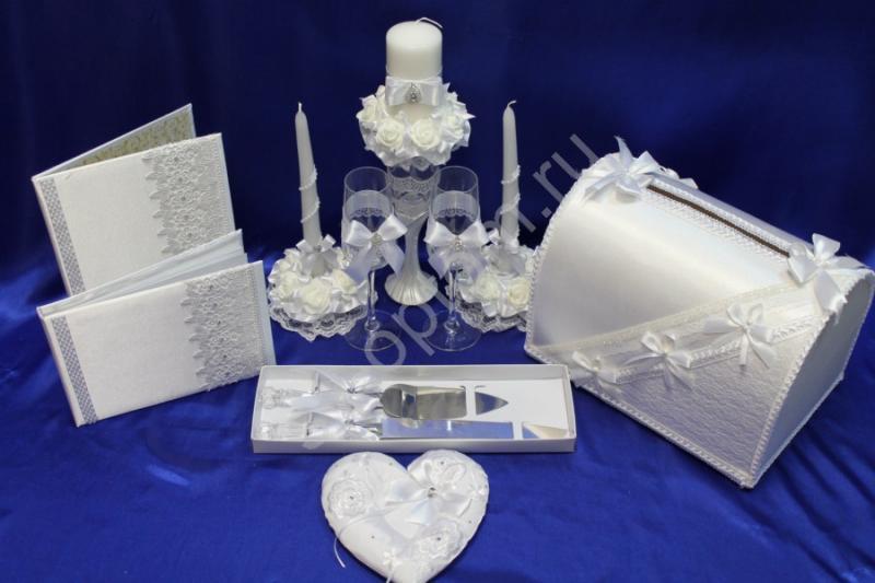 Набор белый (свечи, бокалы) арт. 053-170
