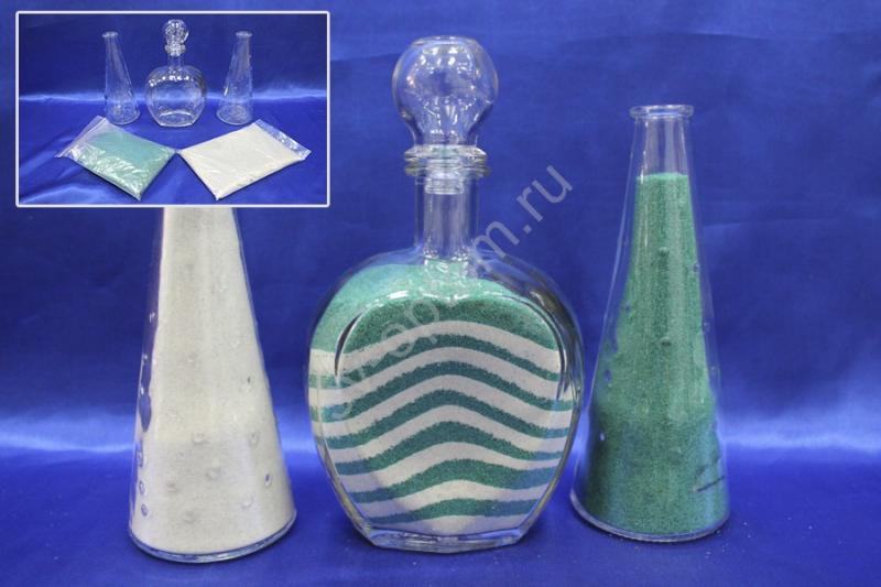 Набор для песочной церемонии зелено-белый арт. 147-009