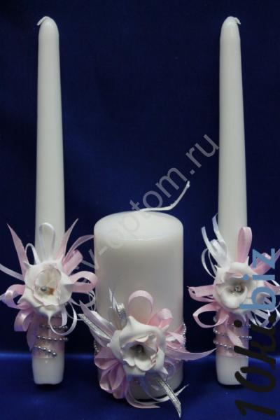 Набор из трех свечей розовый 12см+2х25см арт. 062-157 Свадебные свечи в Москве